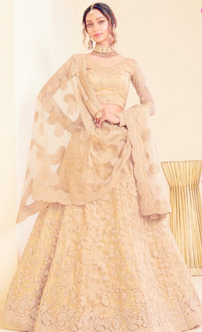 Beige Indian Wedding Reception Lehenga Choli In Net SI783 - Siya Fashions