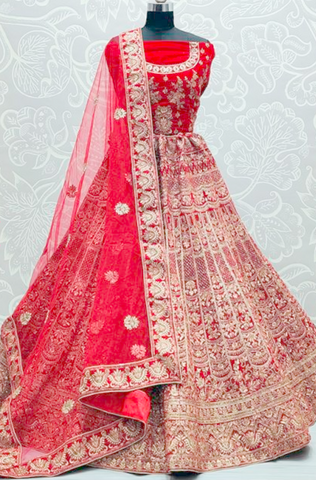 Royal Red Bridal Wedding Lehenga Choli Hand Embroidery SYDS788 - Siya Fashions