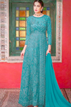 Designer Bridal Teal  Long  Churidar Suit Georgette YD0943 - Siya Fashions