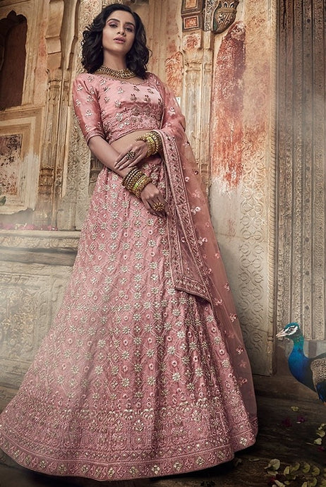 Sequin Bridal Crepe Pink Lehenga In Satin SF26BRI - Siya Fashions