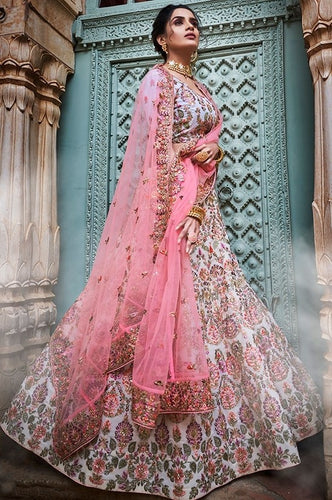 Sequin Bridal White Pink Lehenga In Georgette SF25BRI - Siya Fashions