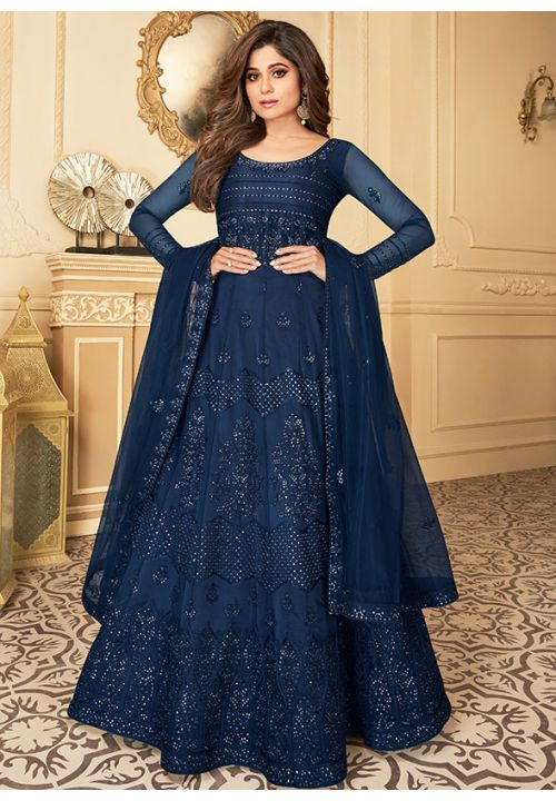 Shamita Shetty Blue Net Anarkali Long Gown BOLSF536 - Siya Fashions