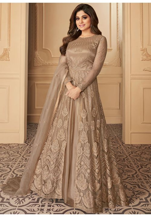 Shamita Shetty Brown Lehenga Kameez Suit Net With Insane Embroidery BOL3214SI - Siya Fashions