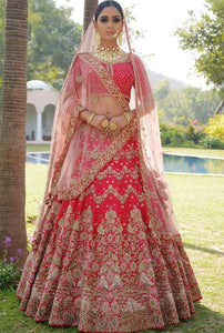 Shop Online Bridal Cherry Red Nylon Satin And Net Fabric Lehenga Choli SFY84 - Siya Fashions