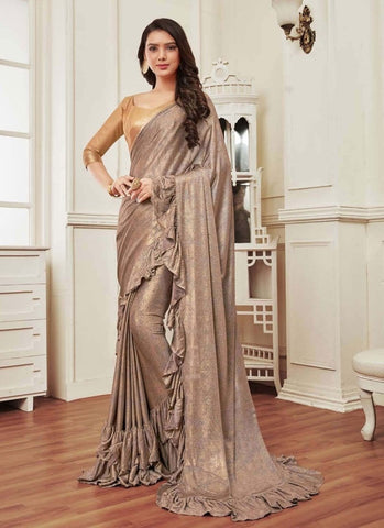 Shop Online Elegant Gold Grey Color Lycra Ruffle Fabric Saree SFSD1277 - Siya Fashions