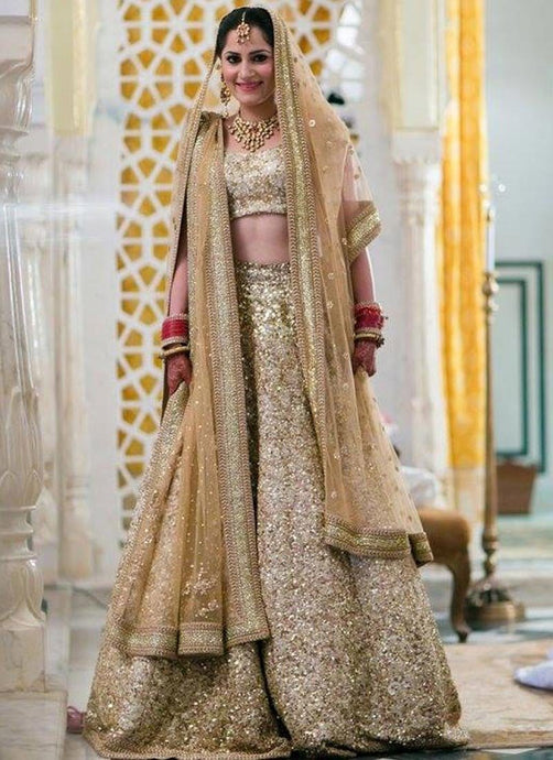 Silk Gold Glitter Wedding Bridal Lehenga SFIN0121 - Siya Fashions