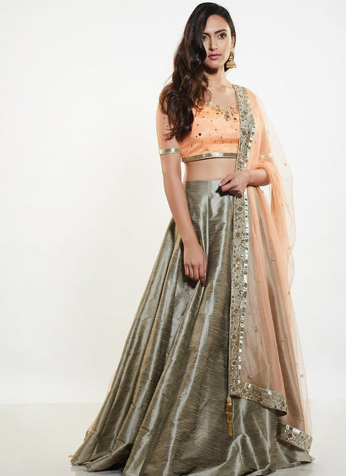 Silk Jacquard Lehenga Choli In Grey SF01021 - Siya Fashions