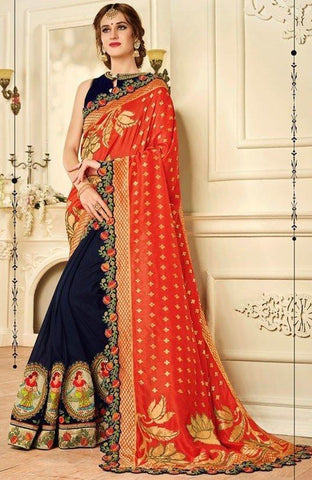 Silk Wedding Saree In Blue Orange Handwork SIYA13YD - Siya Fashions