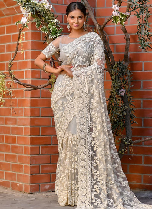 Silver Reception Party Wear Net Saree SSFWED41 - Siya Fashions
