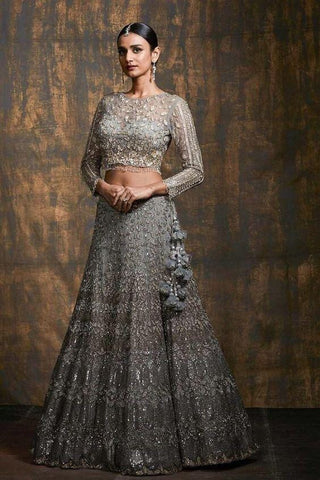 Silver Grey Cocktail Lehenga With Stone Work SFIN2209 - Siya Fashions