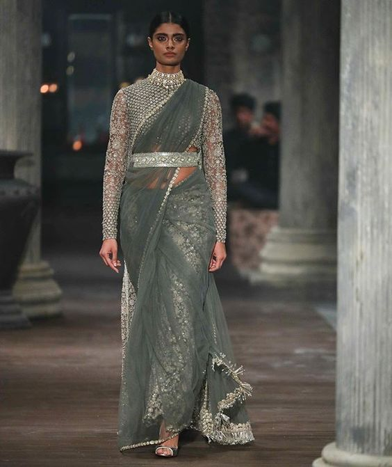 Silver Grey Wedding Party Saree In Net SFINS9927 - Siya Fashions