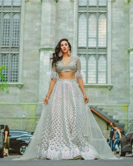 Silver Organza Silk Faux Feathers Cocktail  Lehenga  SFIN9492 - Siya Fashions