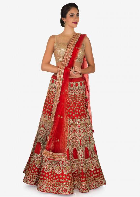 Bridal Orange Silk Lehenga Zari Work SFB873