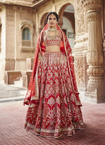 Royal Red Bridal Exclusive Silk Lehenga Choli Zardozi Work SFIN091 - Siya Fashions