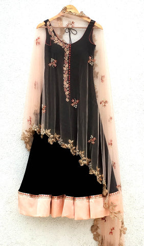 Black Cape Anarkali Gown With Embroidery Work SFIN5209 - Siya Fashions