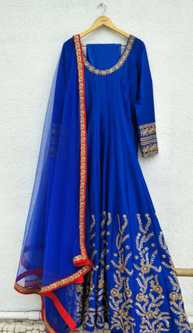 Blue Silk Anarkali Gown With Embroidery Work SFIN5223 - Siya Fashions