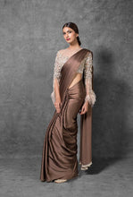 Load image into Gallery viewer, Brown Designer Silk Satin Party Saree SFIN2423 - Siya Fashions