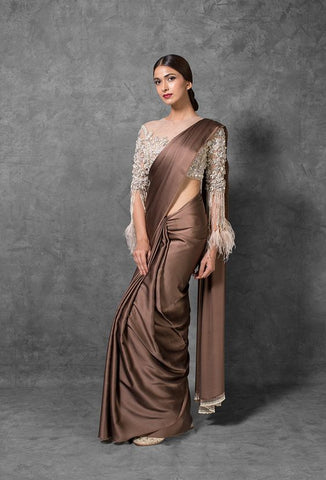 Brown Designer Silk Satin Party Saree SFIN2423 - Siya Fashions