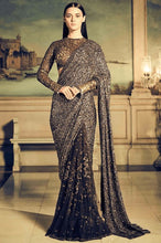 Load image into Gallery viewer, Buy Elegant Bridal Brown Coffee Sequin Saree SFIN121 - Siya Fashions