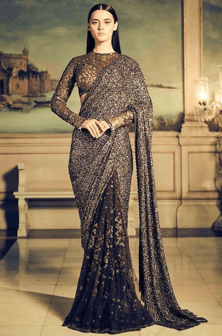 Buy Elegant Bridal Brown Coffee Sequin Saree SFIN121 - Siya Fashions
