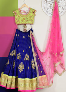 Buy Georegette Engagement Lehenga In Blue SFIN503 - Siya Fashions