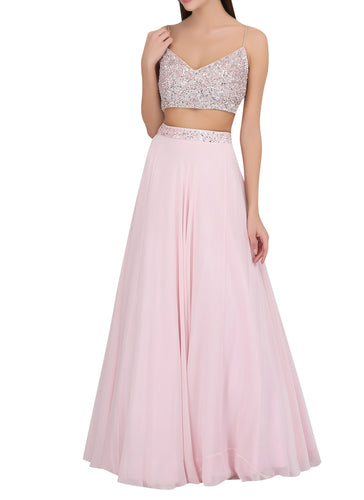 Buy Pink Lehenga In Georgette With Crystals SFIN205 - Siya Fashions