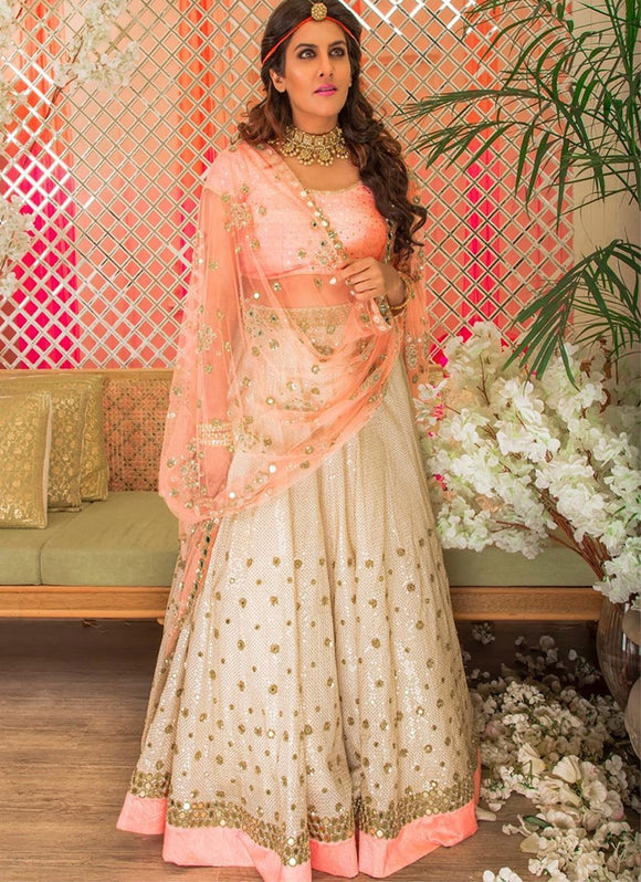 Buy Wedding Party Satin Lehenga In White And Pink SF12332IN - Siya Fashions