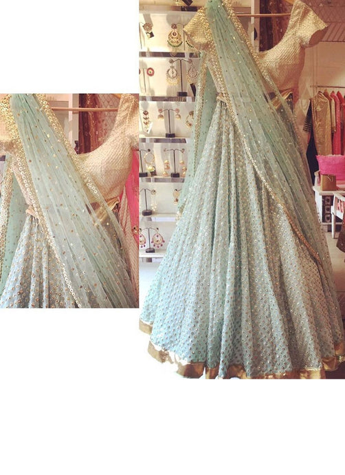 Aqua Blue Wedding Evening Party Lehenga In Georgette SF1152IN - Siya Fashions