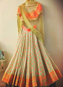 Buy Wedding Sangeet Peach Grey Lehenga Choli  SF10943IN - Siya Fashions