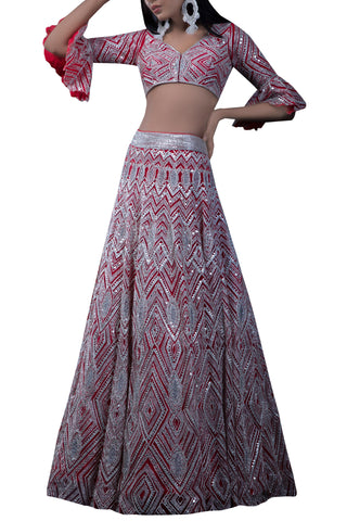 Cocktail Red Wedding Lehenga With Resham Mirror Work SFIN0022 - Siya Fashions