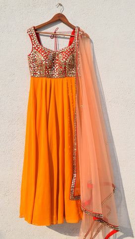 Delight Orange Haldi Sequin Anarkali Wedding Suit SFIN0990 - Siya Fashions