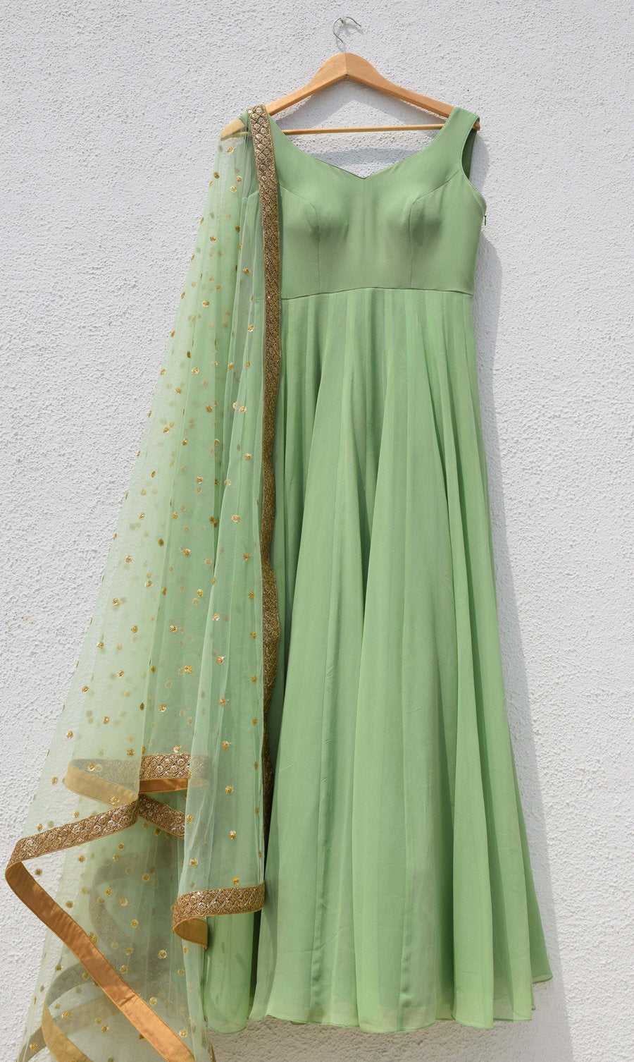 Delight Pastel Green Shaded Mehendi Anarkali Wedding Suit SFIN3208 - Siya Fashions
