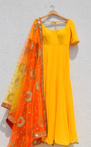 Delight Yellow Shaded Anarkali Wedding Suit With Pink Dupatta SFIN3210 - Siya Fashions