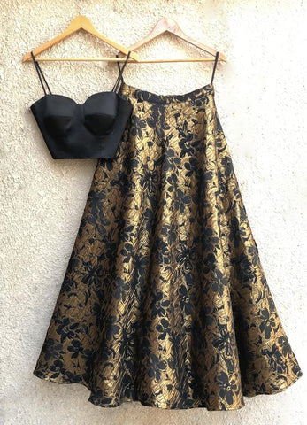 Designer Black Gold Indian Lehenga Floral Print SFIN805 - Siya Fashions