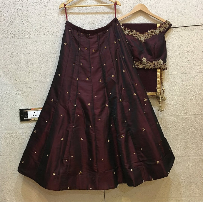Siya Fashions Fully Stitched Burgundy Wine Silk Lehenga SFINS206 - Siya Fashions