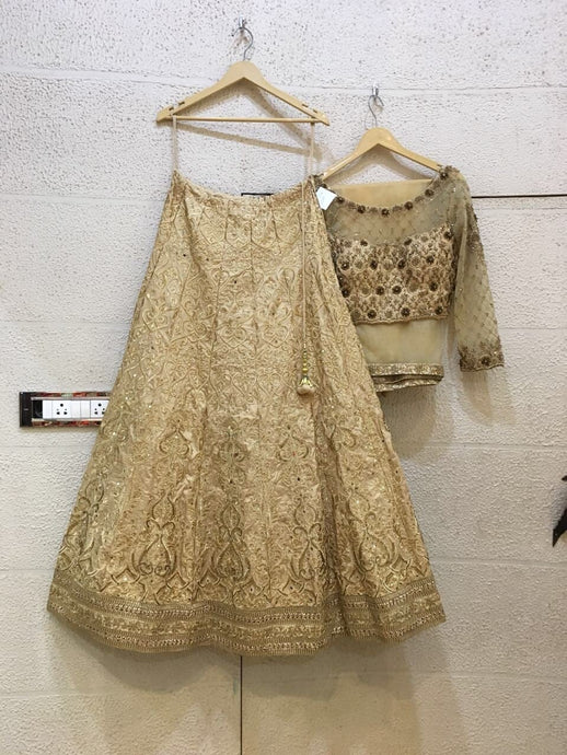 Siya Fashions Fully Stitched Gold Lehenga In Silk SFB0019 - Siya Fashions