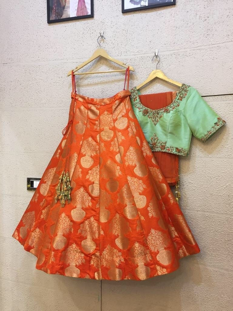 Siya Fashions Fully Stitched Orange Mint Silk Lehenga SFINS204 - Siya Fashions