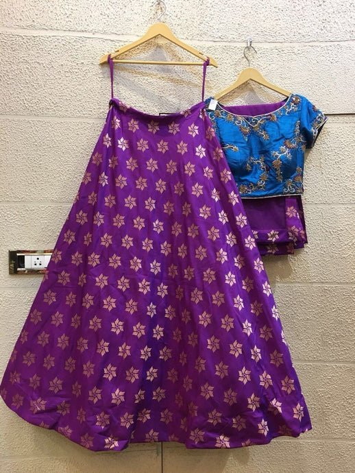 Siya Fashions Fully Stitched Purple Blue Net Lehenga SFINS203 - Siya Fashions