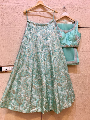 Siya Fashions Fully Stitched Teal Silk Lehenga SFB0014 - Siya Fashions