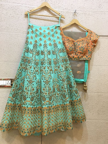Siya Fashions Fully Stitched Turquoise Lehenga Choli In Silk SFB0023 - Siya Fashions