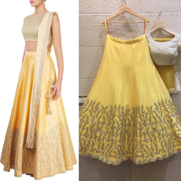 Siya Fashions Fully Stitched White Yellow Raw Silk Lehenga SFINS0210