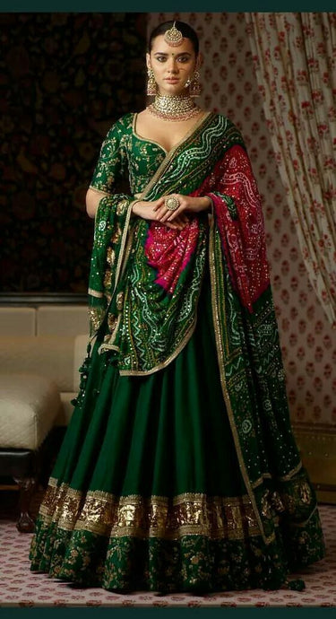 Green Bridal Wedding Lehenga In Pure Silk SF40093 - Siya Fashions