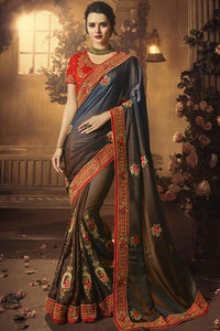 Implosive Designer Saree In Brown And Blue SF8011 - Siya Fashions