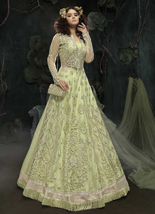 Distinctive Wedding Green Net Anarkali Suit Zari Work SF093