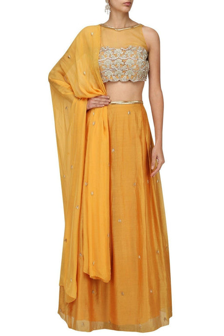 Mustard Yellow Cutwork Embroidery Lehenga SFB5134 - Siya Fashions
