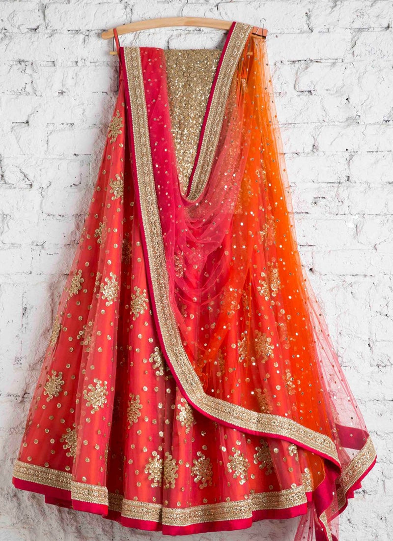Buy Orange Lehenga In Art Silk SFI42325 - Siya Fashions