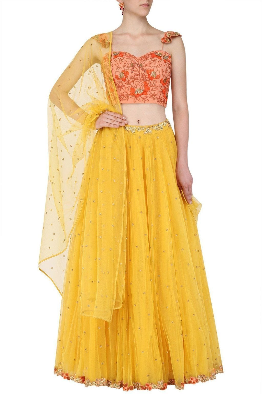Orange Yellow Bespoke Embroidery Lehenga SFB5133 - Siya Fashions