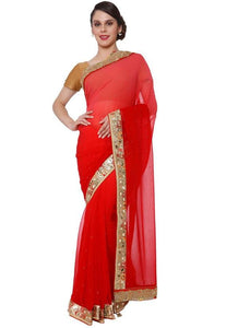 Party Red Georgette Saree With Blouse In Silk SF23EXP - Siya Fashions