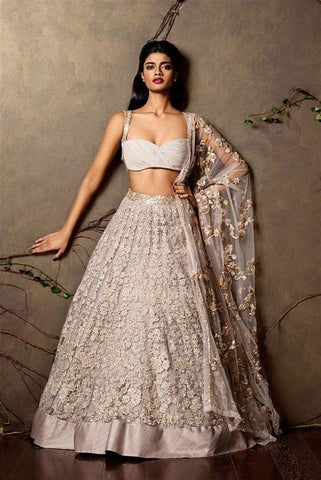 Perplexing Grey Wedding Reception Lehenga In Net SFIN202 - Siya Fashions