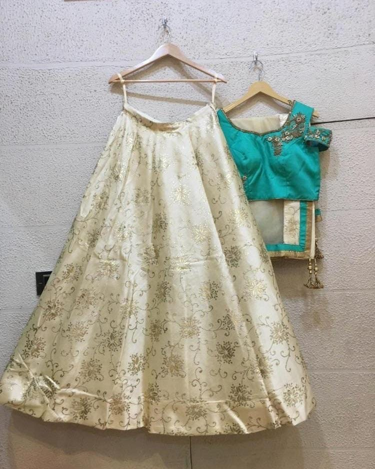 Siya Fashions Silk Ivory Teal Ready Made Lehenga SF8532 - Siya Fashions